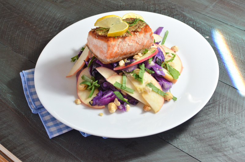 Seared Mustard Crusted Salmon with Apple Slaw